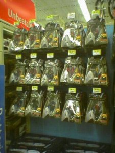 Well-stocked pegs of Star Trek Galaxy Collection toys at the local WalMart.